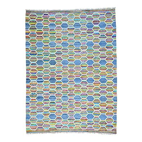 Shahbanu Rugs Flat Weave Kilim Cotton and Sari Silk Hand Woven Oriental Rug (9' x 12'1