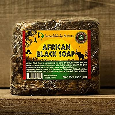 #1 Best Quality African Black Soap - Raw Organic Soap for Acne, Dry Skin, Rashes, Scar Removal, Face & Body Wash, Authentic Beauty Bar From Ghana West Africa Incredible By Nature from Incredible By Nature