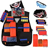 Elongdi Kids Tactical Vest Kit Nerf Guns N-Strike Elite Series, 50 Refill Darts + 3 Reload Clips + 2 Hand Wrist Band + Protective Glasses + 2 Tactical Mask Tactical Vest N-Strike Elite Series