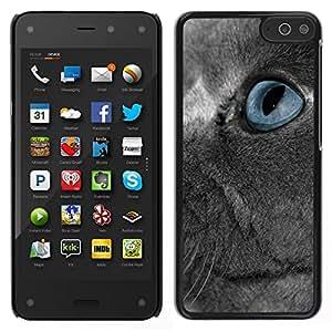 Caucho caso de Shell duro de la cubierta de accesorios de protección BY RAYDREAMMM - Amazon Fire Phone - Scottish Fold gato gris ruso Blue Eye