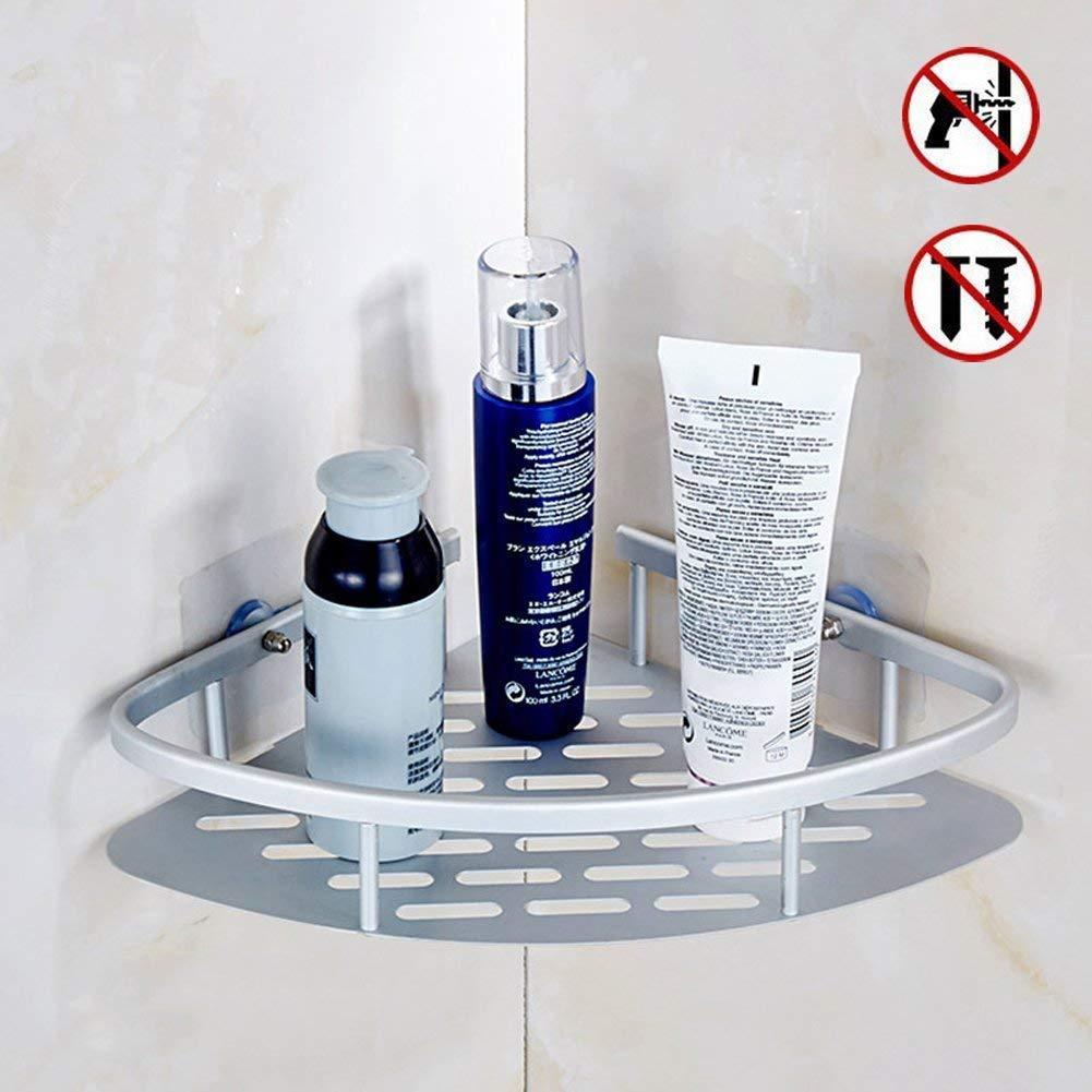 Nessun foro bagno mensola angolare 1ripiani, 2contenitori portaoggetti da doccia, 3ripiani, adesivo shampoo, antiruggine alluminio dello spazio organizer per vasca, montaggio a parete, Alluminio, 2 Tier Monba