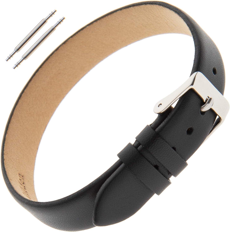 Gilden Ladies 8-14mm Classic Calfskin Black One-Piece Leather Watch Band Charm Bracelet F601