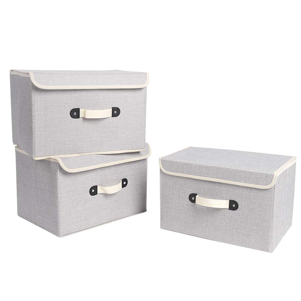 XIMIVOGUE Storage Boxes 3 Pack Linen Fabric Foldable Storage Cubes Bins Containers with Lids and Handles for Home, Office, Closet, Bedroom, Living Room (Grey) by Yeslike