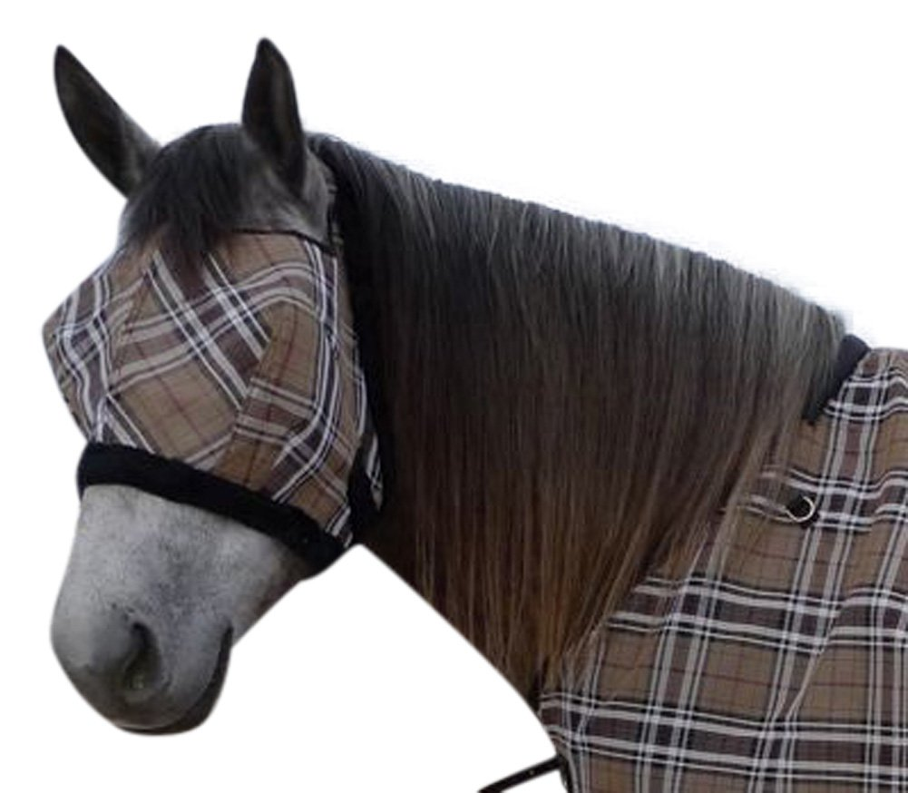 Kensington Fly Mask with Fleece Trim for Horses - Protects Face and Eyes from Flies and UV Rays While Allowing Full Visibility - Breathable and Non Heat Transferring Makes it Perfect Year Round