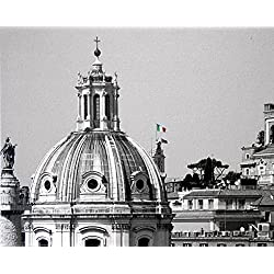 Un Top Di Roma - 8 X 10 Premium Gallery Canvas Wrap Print Black and White (A Top of Rome)