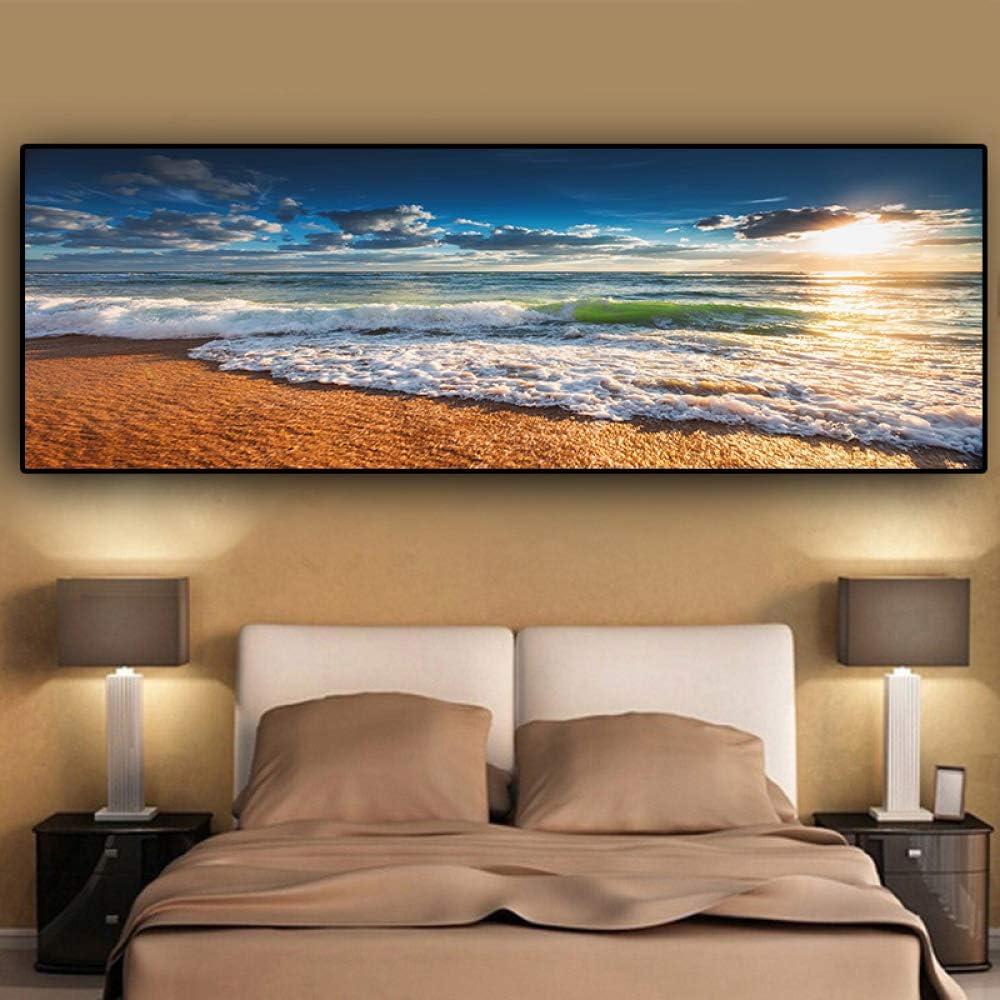 NIMCG Arte Natural Golden Beach Sunset Paisaje Cartel y Grabado Lienzo Pintura Mediterráneo Sala de Estar Mural (sin Marco) A1 40x120CM: Amazon.es: Hogar