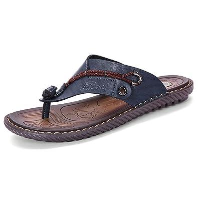 27a6649f2 MXTSH Mens Flip Flops Slippers Flat Sandals Shoes Blue Leather US Size 6.5  (39)