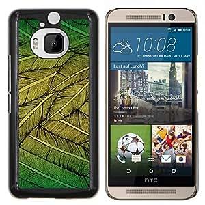 Caucho caso de Shell duro de la cubierta de accesorios de protección BY RAYDREAMMM - HTC One M9Plus M9+ M9 Plus - Plumas Verde Naturaleza Arte del árbol del pájaro que vuela