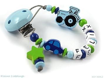Schnullerkette Für Namen Mit 3 9 Buchstaben Hellblau Grün Dunkelblau Trecker Auto Und Stern 5 Buchstaben