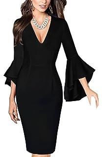 sekitoba-japan.inc v Neck Bell Sleeves Sheath Dress for Women Black and Wine