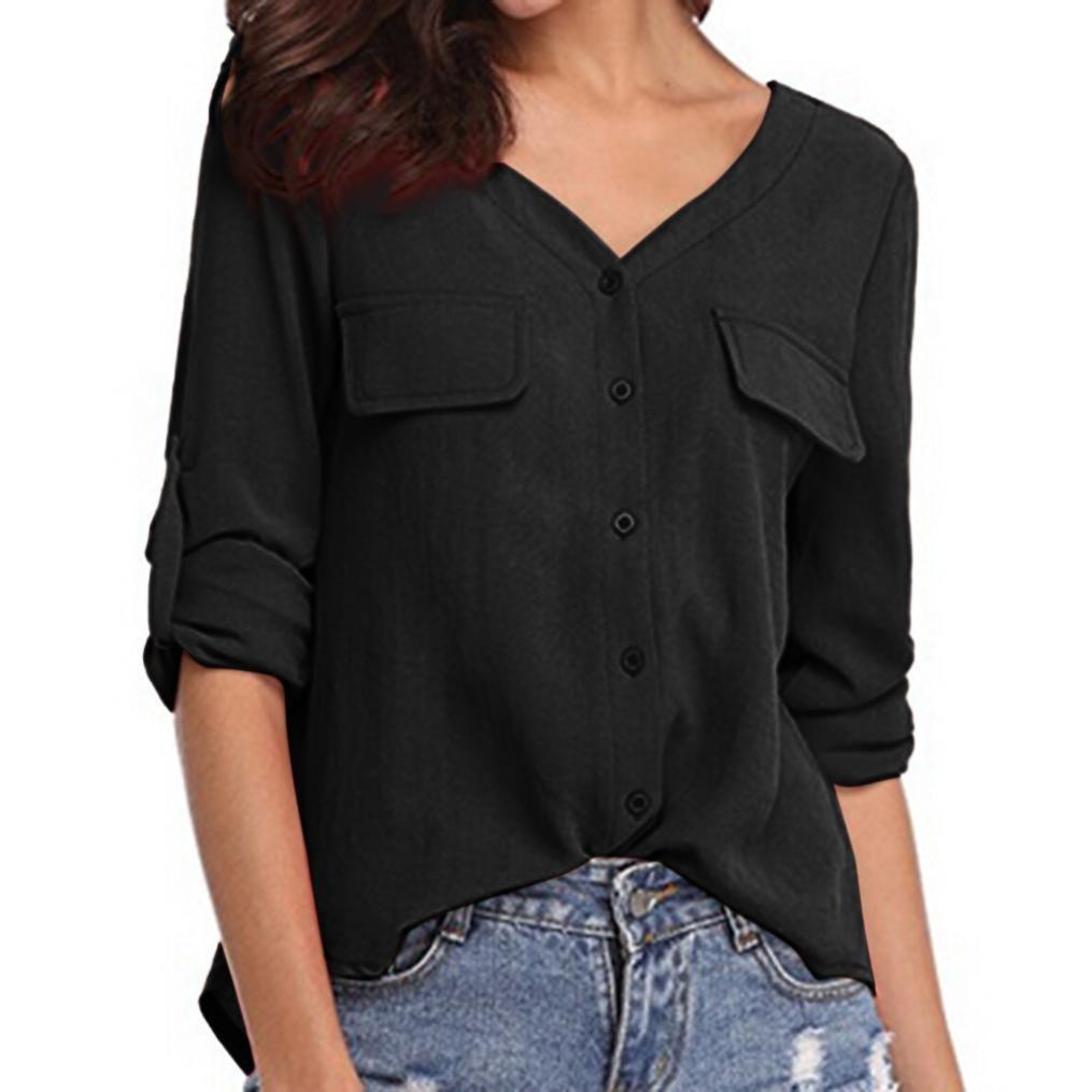 b3a53aa17f66 ❊Material:Chiffon♥♥Women's teen long sleeve ruffled waist button- down  peplum shirt women's sexy fitted plaid shirt 3/4 sleeves blouses v neck tie  front ...