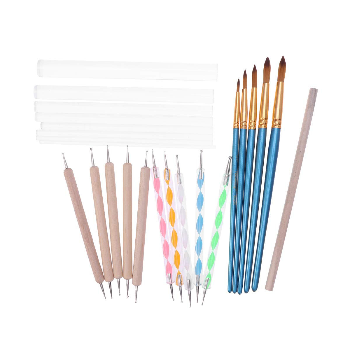STOBOK Silicone Color Shapers Dotting Tools Sculpting Painting Brushes Kit - 24Pcs by STOBOK