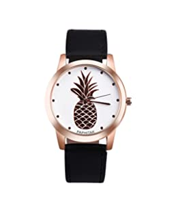 Becoler Women Faux Leather Analog Quartz Watch with Pineapple Printed