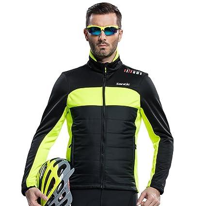 2fe2b0c8e Santic Men s Cycling Jacket Winter Coat Windproof Thermal Long Jersey Green  Medium(US ...