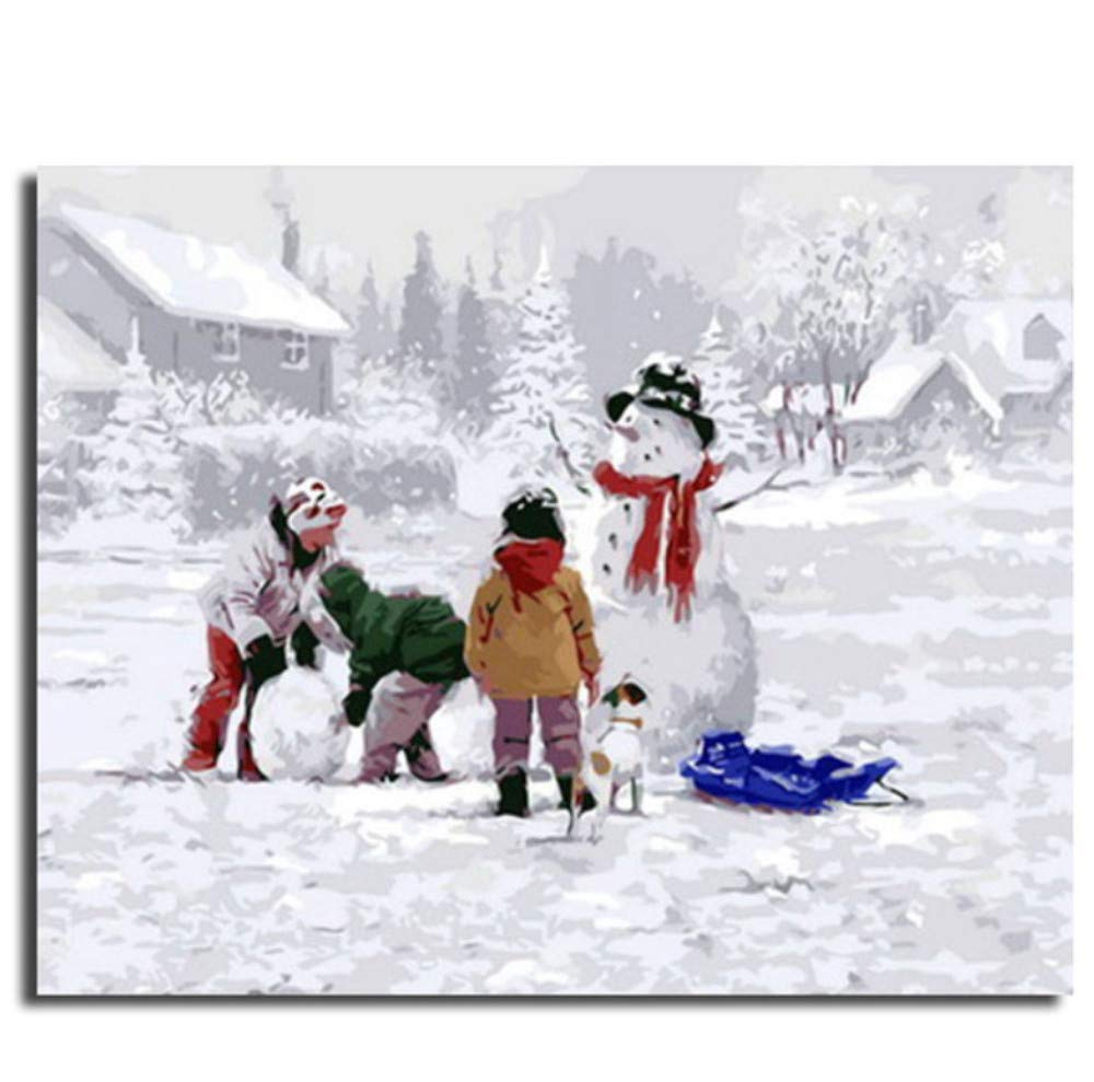 Make A Snowman Painting by Numbers Art Wall Background Home Decor Oil Painting Kids Poster 40x50CM