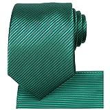 KissTies St Patrick's Day Skinny Necktie Set Solid Green Tie + Hanky + Gift Box