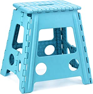Acko Step Stool 16 Inches Super Strong Folding Step Stool for Adults and Kids,Kitchen Stepping Stools, Garden Step Stool Sky Blue
