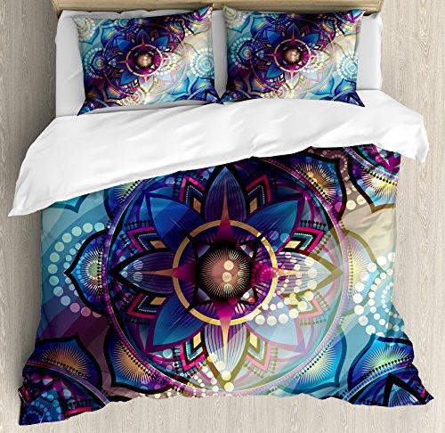 Ambesonne Lotus Duvet Cover Set King Size, Gradient Diagonal Mystic Geometric Alchemy Trippy Motif with Ornaments, Decorative 3 Piece Bedding Set with 2 Pillow Shams, Indigo Blue