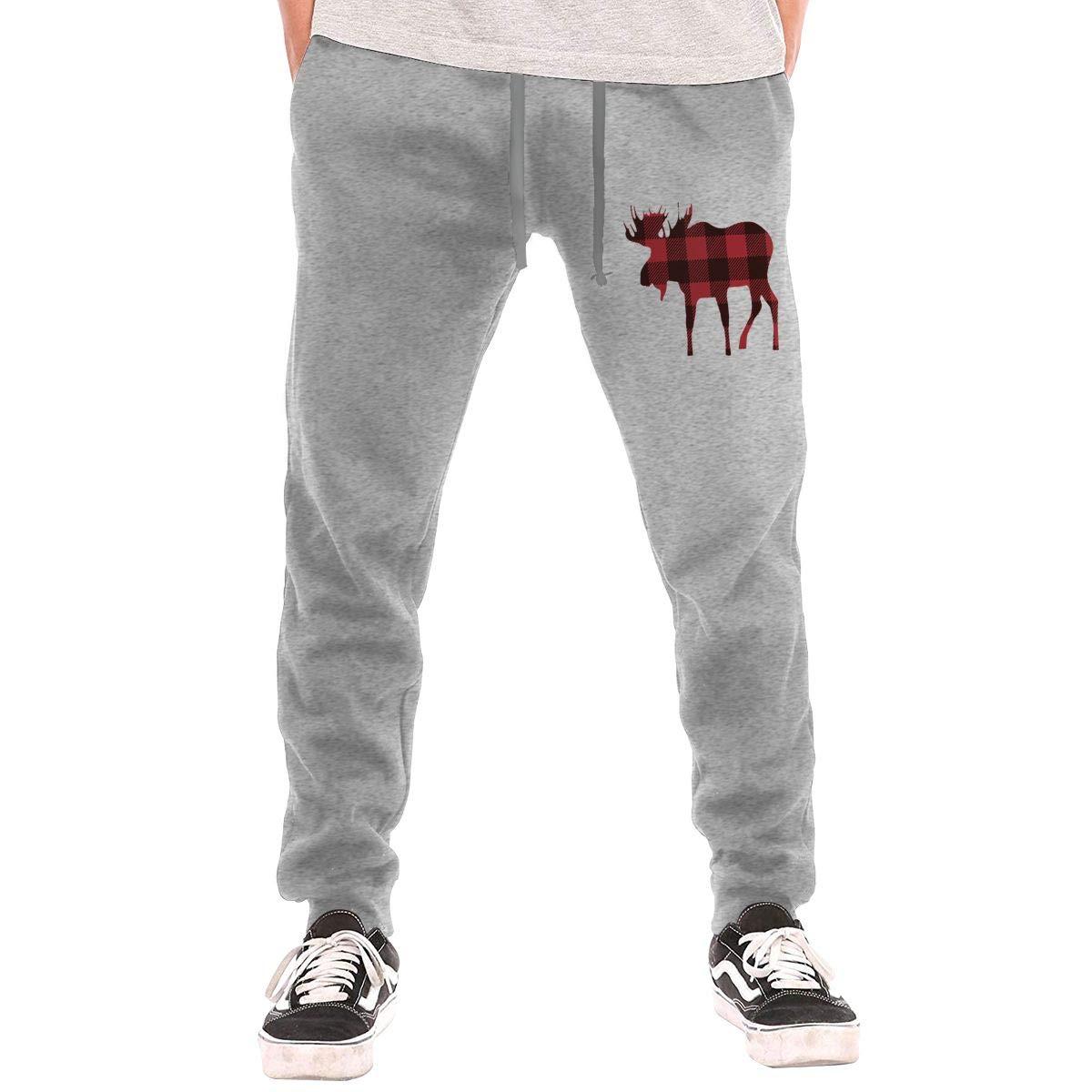 AucCen Mens Buffalo Plaid Moose Active Basic Jogger Cotton Pants Gray