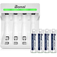BONAI Batterijlader 4 Slot Acculader LED Oplader voor AA/AAA Li-ion Accu met 1.5V AA Lithium 3300mWh Oplaadbare…