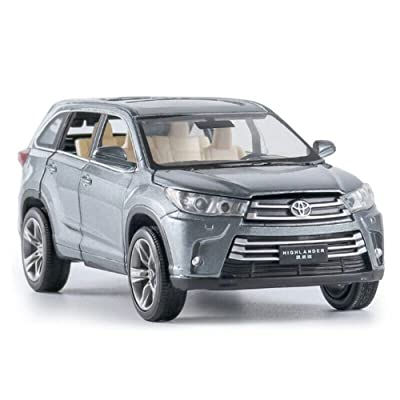 Model Car Sport Scale 1:32 Toyota Highlander 2020 SUV Model Car Alloy Diecast Toy Vehicle Kids Gift Gray: Toys & Games