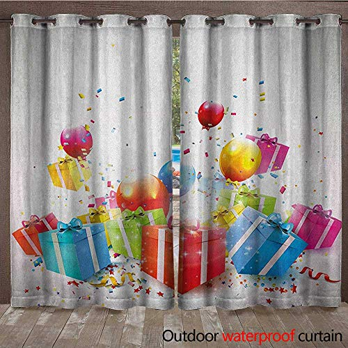 Birthday Blackout Curtain Surprise Boxes with Bow Ties Confetti Rain Colorful Balloons Celebratory Set UpW120 x L96 Multicolor for $<!--$97.60-->