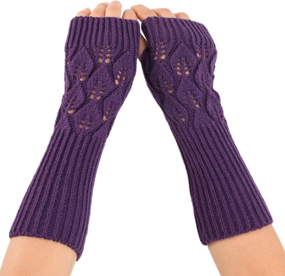Femme Femmes Violet Thermique Tricot Hiver Stretch Gants-Nouveau