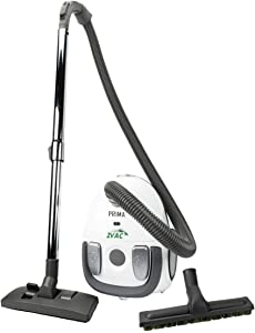 ZVac Canister Vacuum Cleaner Prima - HEPA Filtration 2 L Tank Capacity - 1200 W Powerful Motor - Compact Lightweight with 6 FT Hose & Telescopic Wand - Carpet & Floor Brushes - Bagged Vacuum Cleaner