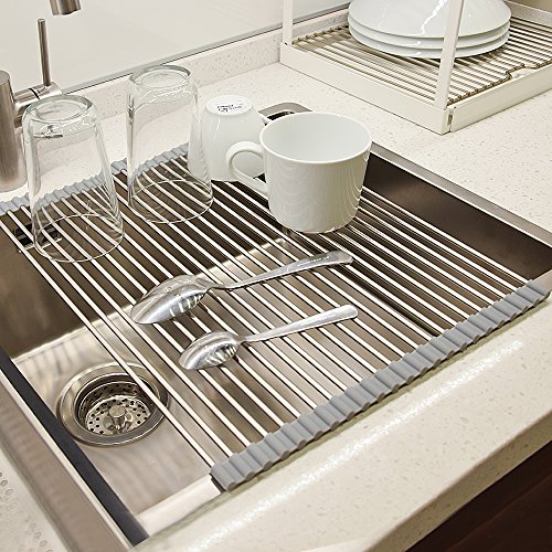 Dish Drying Rack, VEEAPE 304 Stainless Steel Roll-Up Dish Dr
