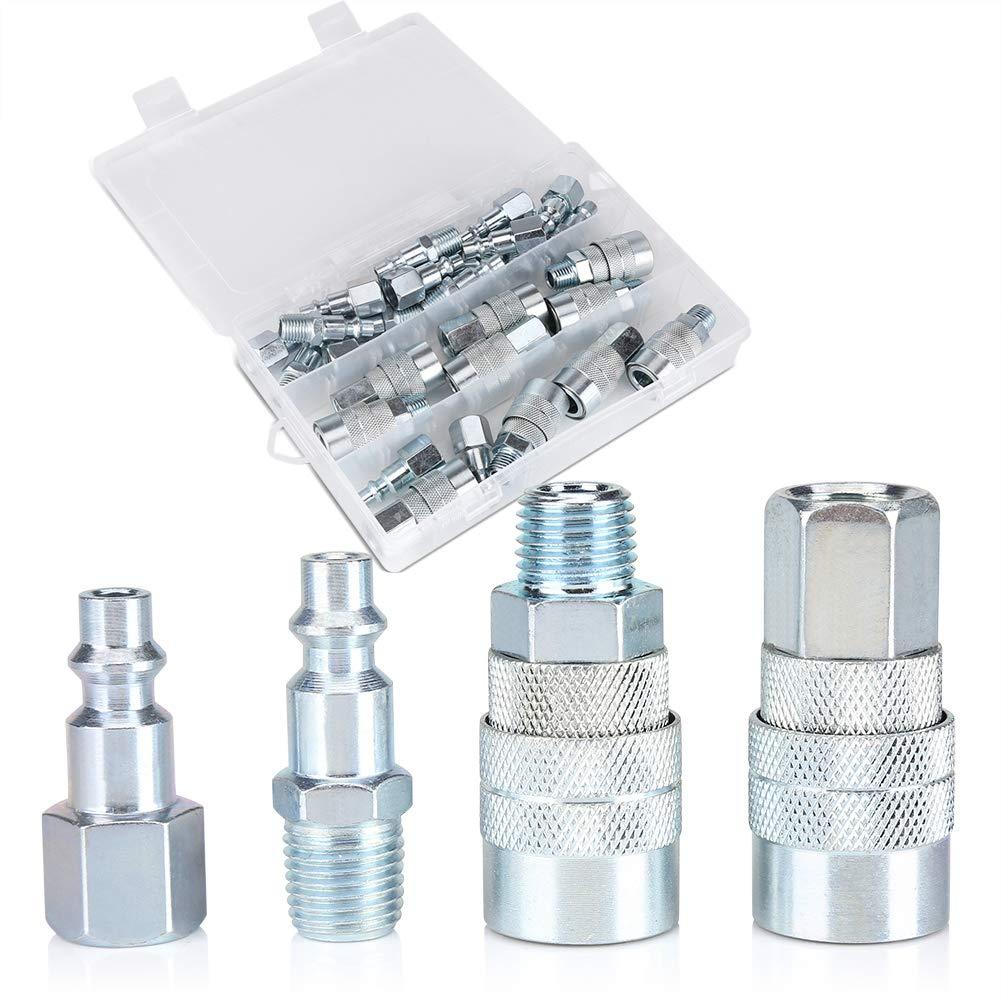 Quick Coupler Set 30pcs//Set 1//4 NPT Quick Coupler Plug Set Male//Female Air Hose Connector Fittings
