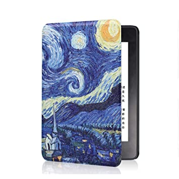 FAN SONG Funda para Kindle E-Reader Modelo SY69JL, Delgado Cubierta de Cuero con Función Automática de Sueño/Estela para Kindle E-Reader 8 Generacion