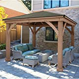 Cheap 12′ x 12′ Cedar Gazebo with Aluminum Roof (Assembly Required)