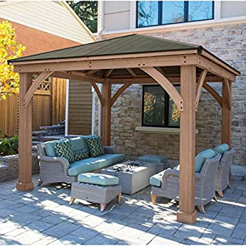 Amazon Com Gazebo With Aluminum Roof By Yardistry Cedar
