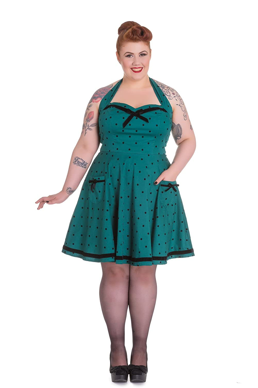 a2a2df5c29bba Hell Bunny Plus Jolene Pinup Rockabilly Teal Green Polka Dot Mini Dress  (XXL) at Amazon Women s Clothing store