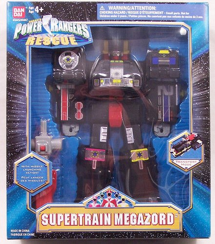 Power Rangers Rescue SUPERTRAIN MEGAZORD Action Figure Deluxe Box set by BANDAI with Missile Firing action. From 1999