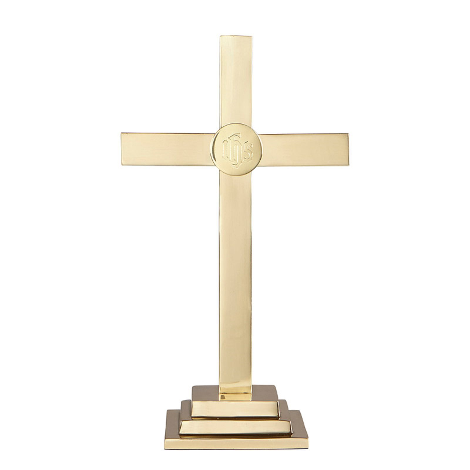 15 Inch Altar Cross - Square Base - Highest Quality - Made of Solid Brass