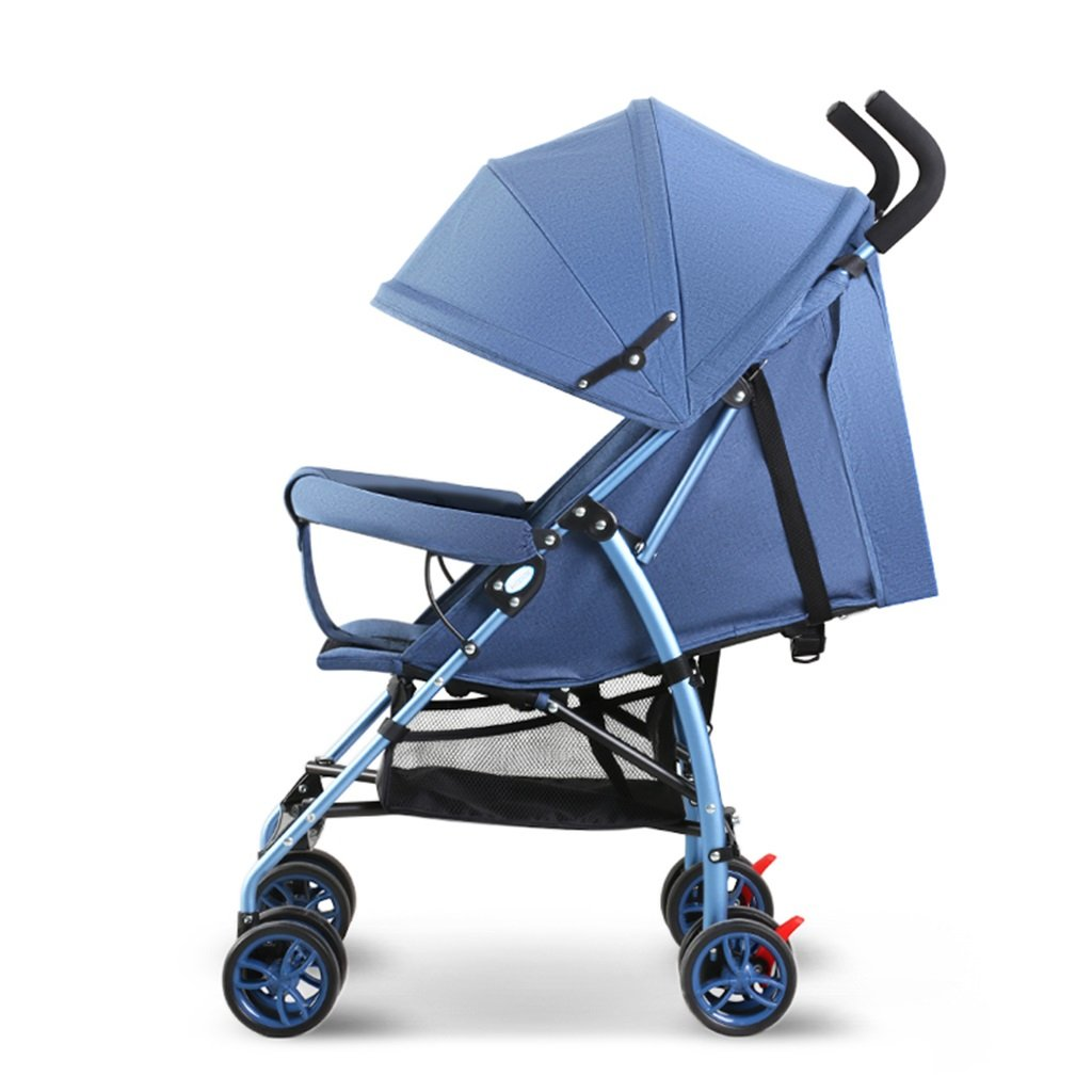 HAIZHEN マウンテンバイク ベビーカート軽量Foldableは座ることができます/アルミニウム合金日よけUV防護ベビーキャリッジ97 * 59 * 44センチメートル 新生児 B07DLG9NJ6 青 青