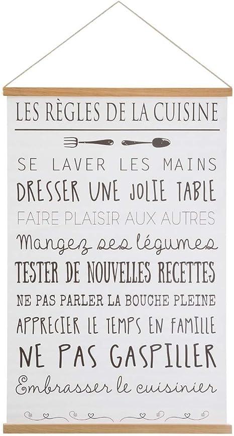Atmosphera Toile Imprimee A Suspendre Theme Les Regles De La Maison 40 X 60 Cm Amazon Fr Cuisine Maison