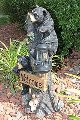 Climbing Black Bear Cubs Statue Figurine Solar LED Lantern Light Welcome Sign