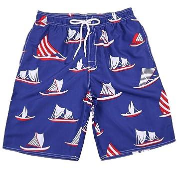OME&QIUMEI Pantalones Cortos De Playa Casual Impresos Azules para ...