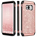 Galaxy S8 Plus Case, BENTOBEN Luxury Glitter Sparkly Bling Hybrid Dual Layer Laminated with Faux Leather Chrome Shockproof Protective Samsung Galaxy S8 Plus (6.2 inch) Cases for Women, Rose Gold