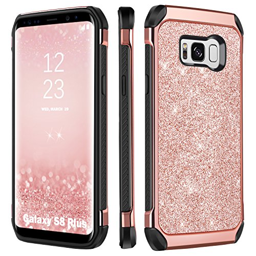 BENTOBEN Galaxy S8 Plus Case, Luxury Glitter Sparkly Bling Hybrid Dual Layer Laminated with Faux Leather Chrome Shockproof Protective Samsung Galaxy S8 Plus (6.2 inch) Cases for Women, Rose Gold