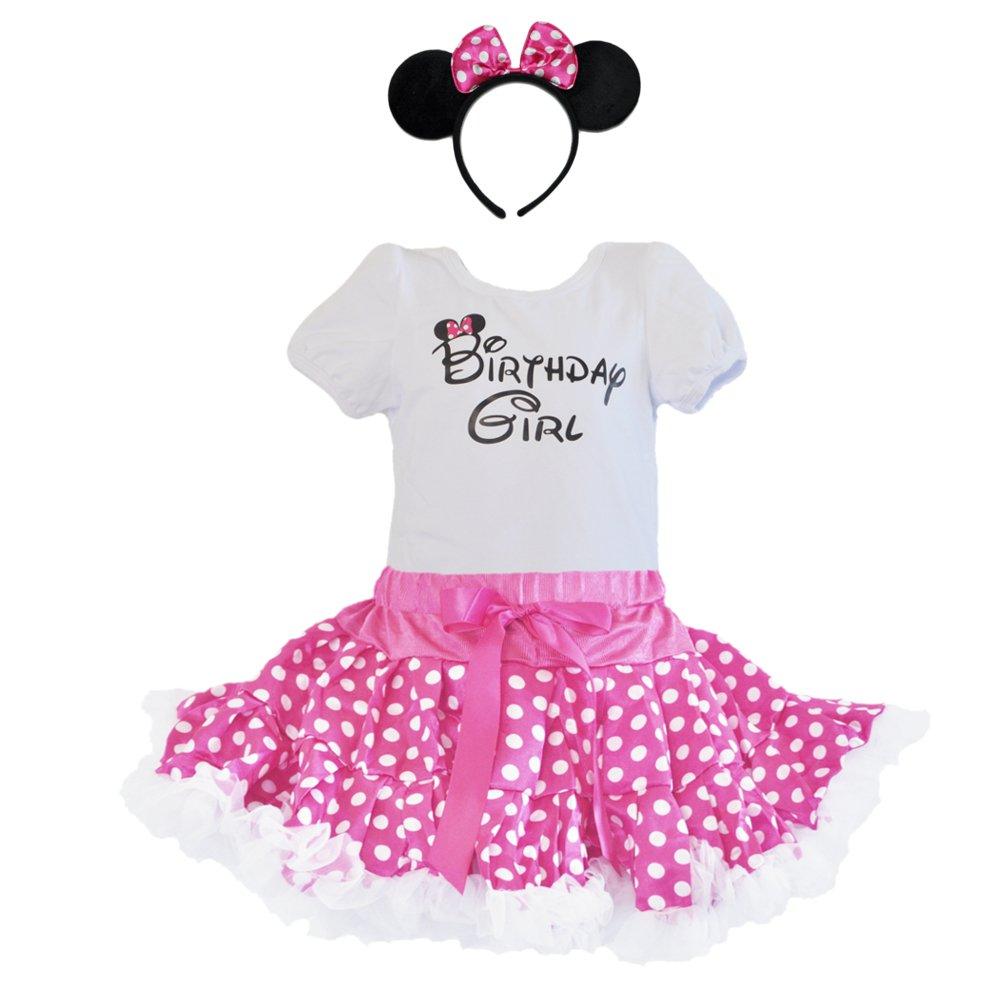 Birthday Girl T-Shirt, Pink-white Polka Dots Tutu, Headband 3 Pcs Set (Age 1-PWH)