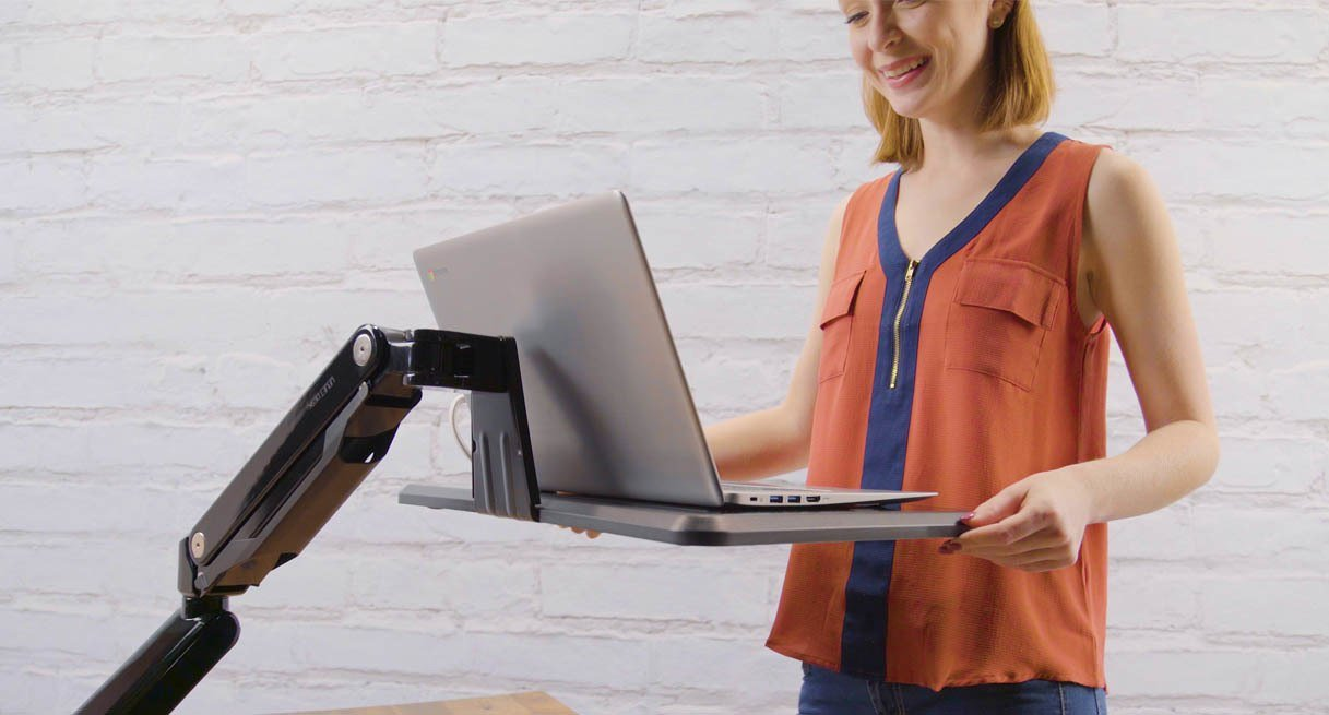 UPLIFT Desk Mobile Standing Converter Gray