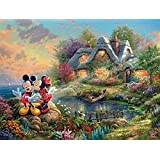 Ceaco Thomas Kinkade The Disney Collection Mickey and Minnie Sweetheart Cove Jigsaw Puzzle, 750 Pieces