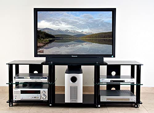 TransDeco td108b – 64 in. TV Stand in High Gloss Black