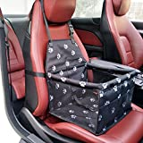 DAN Pet Booster Seat Dog Cat Cage Comfort Travel Waterproof Foldable Safety Car Front or Rear Seats with Seat Belt Tether (Black-Footprints)