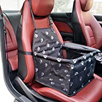 Pet Booster Seat Dog Cat Cage Comfort Travel Waterproof Foldable Safety Car Front or Rear Seats with Seat Belt Tether (Footprints)