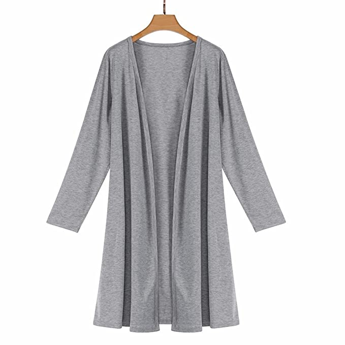 BZLine® Frauen Langarm Tops Bluse Loose Long Cardigan Mantel Jacke ...
