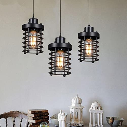 Industrial Light Vintage Industrial Pendant Lighting Fixture with 1×6 Watt Edison Led Bulbs 3 Sets